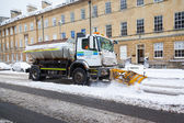 Snow Plough Clears Street in Bath, UK — Stock Photo
