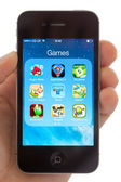 Games on an Apple iPhone 4s — Stock Photo