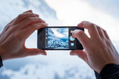 Taking an Instagram Photo with an iPhone — Stock Photo