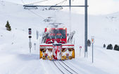 Snow Blower Clearing Railway Track — 图库照片