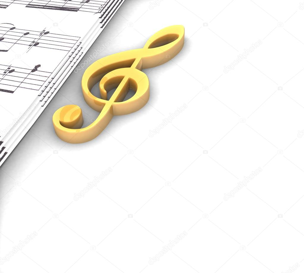 Musical Notes Symbols on Facebook Musical Notes Symbols For Facebook 3d Golden Treble Clef Music