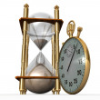 Stock Photo: Hourglass and stopwatch