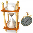 Hourglass and stopwatch — Stock Photo