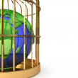 Globe in golden cage — Stock Photo