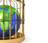 Globe in golden cage — Stock Photo