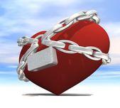 Hjärtat lindade med kedjor — Stockfoto