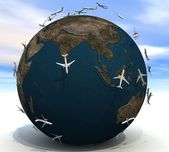 Aircraft overfly the land — Stock Photo