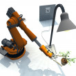 Robot holds the plant under the light — Stock Photo
