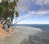 Fisherman at sea — Stock Photo