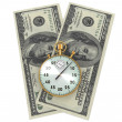 Clock and dollars — Stock Photo