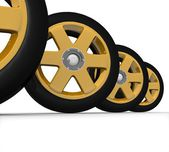Set of wheels of the car — Stock Photo