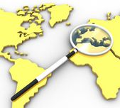 World map and a magnifying — Stock Photo
