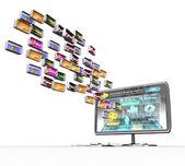 电视与白色背景上的媒体图标 — 图库照片