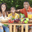 African American Family Healthy Eating Outside — Stock Photo #21588299