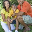 African American Family Mother Father Son Outside — Stock Photo