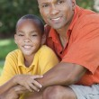 Happy African American Father and Son Family Outside — Stock Photo