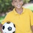 African American Boy Child Playing With Football or Soccer Ball — Stock Photo #21588785