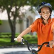 African American Boy Child Riding Bike — Stock Photo #21588841