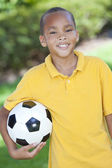 African American Boy Child Playing With Football or Soccer Ball — Stock Photo