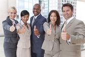 Sex tussen verschillendre rassen mannen & Women Business Team Thumbs Up — Stockfoto
