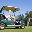 Happy Senior Couple Playing Golf With Cart - Stock Photo