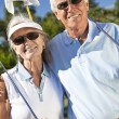 Happy Senior Couple Playing Golf Together — Stock Photo