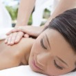 Woman Relaxing At Health Spa Having Outdoor Massage — Stock Photo