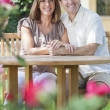 Man & Woman Romantic Couple In Garden — Stock Photo