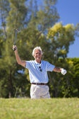 Happy Senior Man Playing Golf — Stock Photo