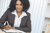 Beautiful African American Woman Businesswoman Writing — Stock Photo