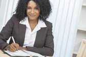 Beautiful African American Woman Businesswoman Writing — Stock Photo
