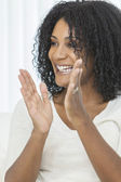 Smiling Laughing Clapping African American Woman — Stock Photo