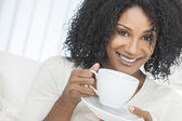 African American Woman Drinking Cup of Coffee or Tea — Stock Photo