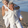 Happy Senior Couple Having Fun on A Tropical Beach — Stock Photo