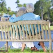 Rear View Senior Couple Sitting On Park Bench Embracing — Foto de Stock