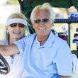 Senior Couple Playing Golf Driving Cart Buggy — Stock Photo #21638471