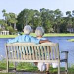 Rear View Senior Couple Sitting On Park Bench — Stock Photo #21638749