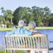 Rear View Senior Couple Sitting On Park Bench - Stock Photo