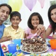 Asian Indian Family Celebrating Birthday Party Cutting the Cake — Stock Photo