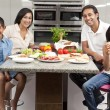 Asian Indian Parents Children Family Eating Healthy Food in Kitc — Stock Photo