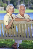 Senior Couple Sitting On Park Bench By Lake — Stock Photo