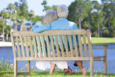 Rear View Senior Couple Sitting On Park Bench Embracing — Stock Photo