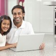 Asian Indian Father & Daughter Using Laptop Computer at Home — Stock Photo