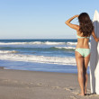 Beautiful Woman Surfer In Bikini With Surfboard At Beach — Stock Photo #21641061
