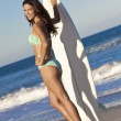 Beautiful Woman Surfer In Bikini With Surfboard At Beach — Stock Photo #21641081