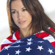 Sexy Girl In Stars & Stripes American Flag — Stock fotografie