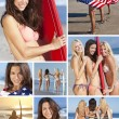 Montage Three Young Women on a Beach with Surfboards — Stockfoto