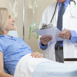 Senior Female Patient In Hospital Bed & Male Doctor - Stock Photo