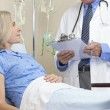 Senior Female Patient In Hospital Bed & Male Doctor — Stockfoto
