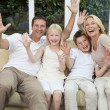 Happy Family Having Fun Sitting At Home — Stockfoto